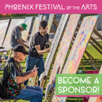 Image of people painting with Become a Sponsor text